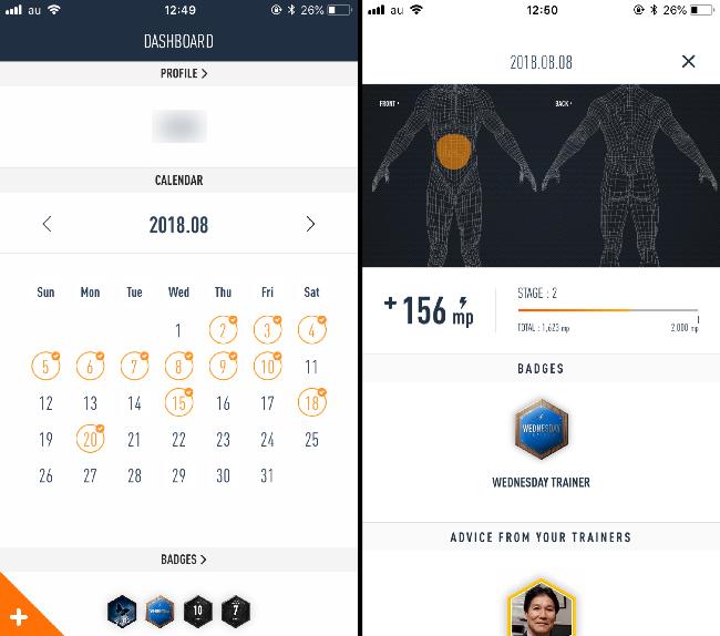 SIXPAアプリのカレンダー