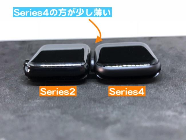 20180921181217Apple Watch Seriesの本体厚み比較