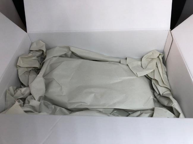 ジーノストーリア配送箱には緩衝材がしっかり敷かれていた