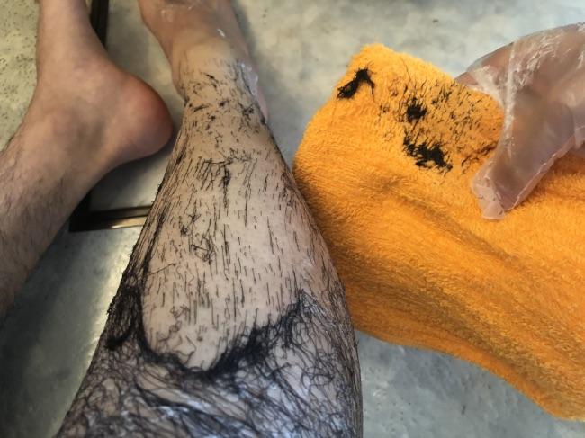 MONOVO除毛クリームを塗った後の作業